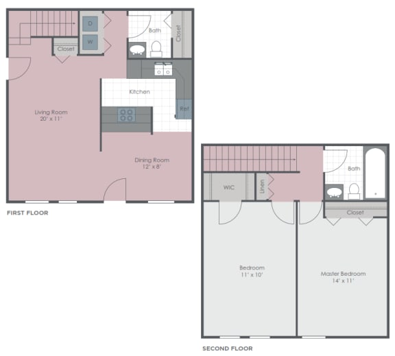 Floor Plan  2 Bedroom 1.5 Bath 1180 sq ft floor plan image