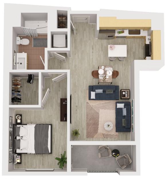 A11 - 1 Bedroom 1 Bath Floor Plan Layout - 639 Square Feet