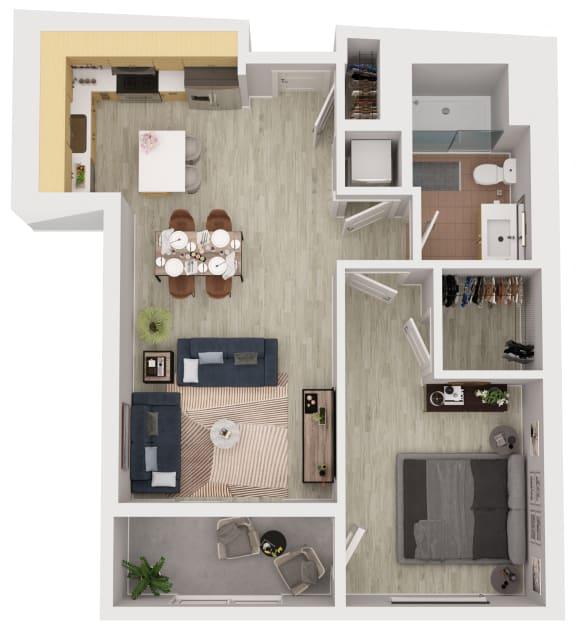 A12 - 1 Bedroom 1 Bath Floor Plan Layout - 675 Square Feet