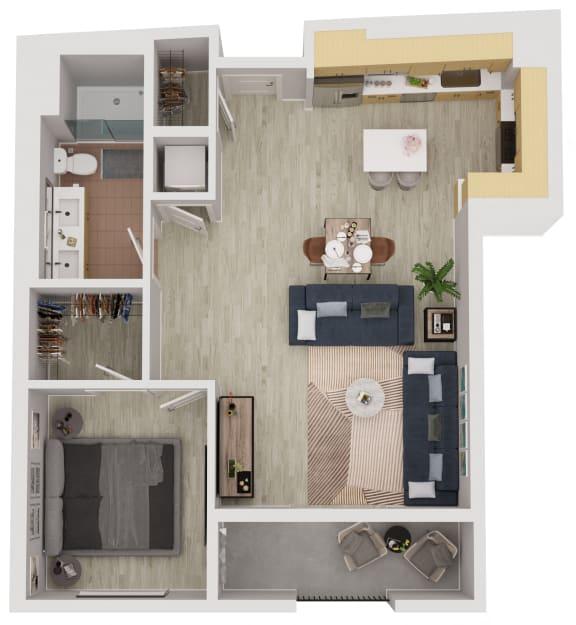 A2 - 1 Bedroom 1 Bath Floor Plan Layout - 810 Square Feet
