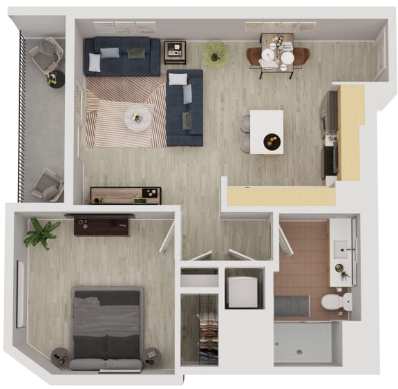 A4 - 1 Bedroom 1 Bath Floor Plan Layout - 683 Square Feet