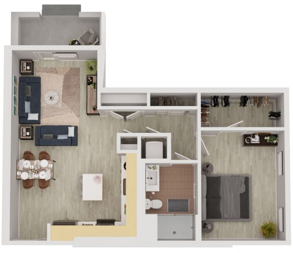 A8 - 1 Bedroom 1 Bath Floor Plan Layout - 837 Square Feet