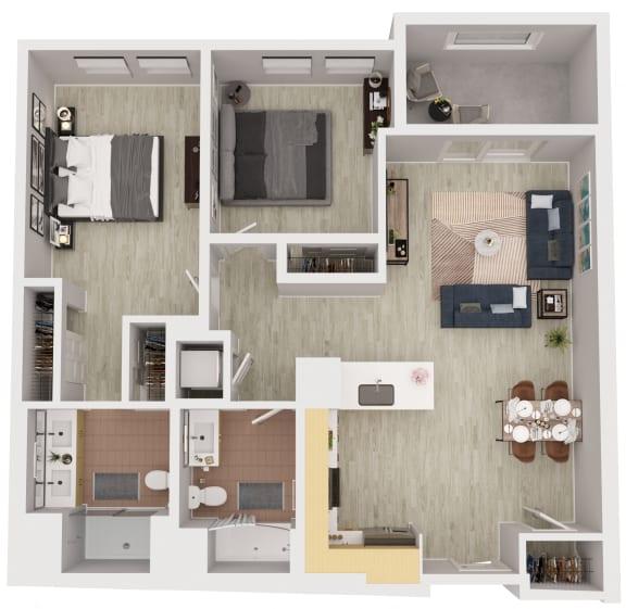 B1 - 2 Bedroom 2 Bath Floor Plan Layout - 1047 Square Feet