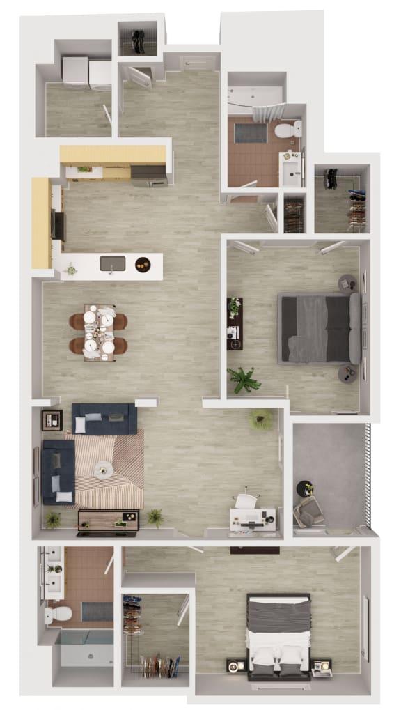 B2 - 2 Bedroom 2 Bath Floor Plan Layout - 1470 Square Feet