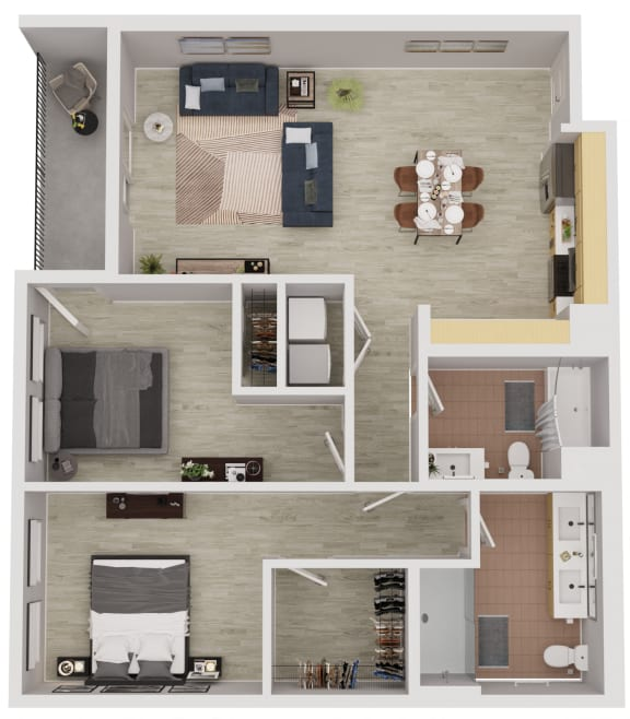 B4 - 2 Bedroom 2 Bath Floor Plan Layout - 1070 Square Feet