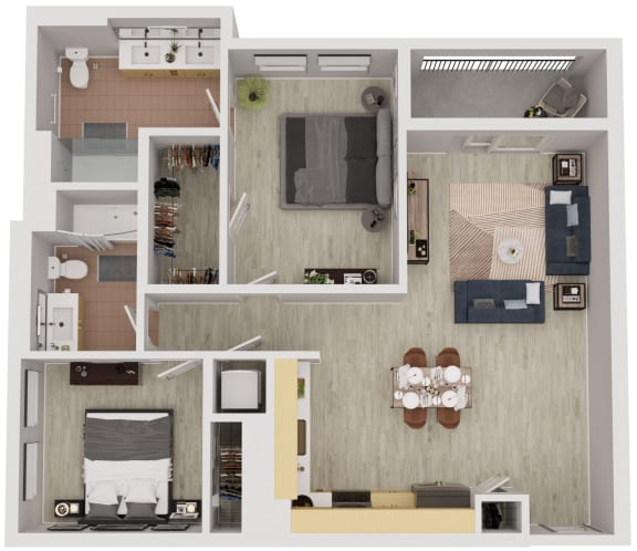 B5 - 2 Bedroom 2 Bath Floor Plan Layout - 1001 Square Feet