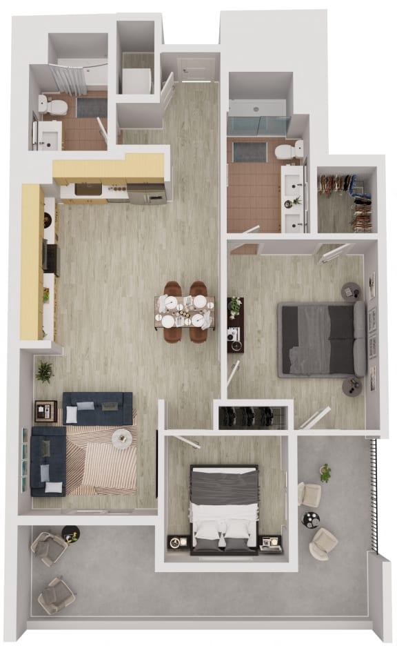 B7 - 2 Bedroom 2 Bath Floor Plan Layout - 1056 Square Feet