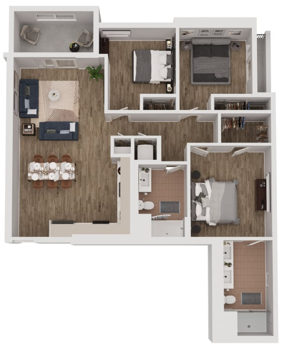 C2-a - 3 Bedroom 2 Bath Floor Plan Layout - 1206 Square Feet