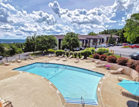 Drone Pool View at Highland Club Apartments, New York