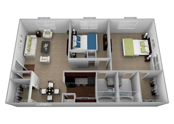 2 Bed 2 Bath Floor Plan at Highland Club Apartments, Watervliet, 12189