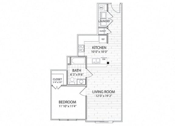 Floor Plan  Crest Floor Plan One Bedroom One Bathroom Apartment