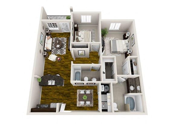 Floor Plan  Sierra 2 Bedroom Floor Plan