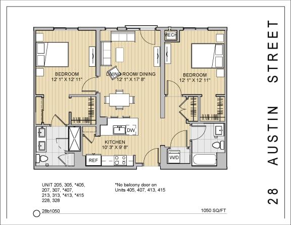 2 Bed 2 Bath 28b1050 Floor Plan at 28 Austin St, Newton, MA, 02460