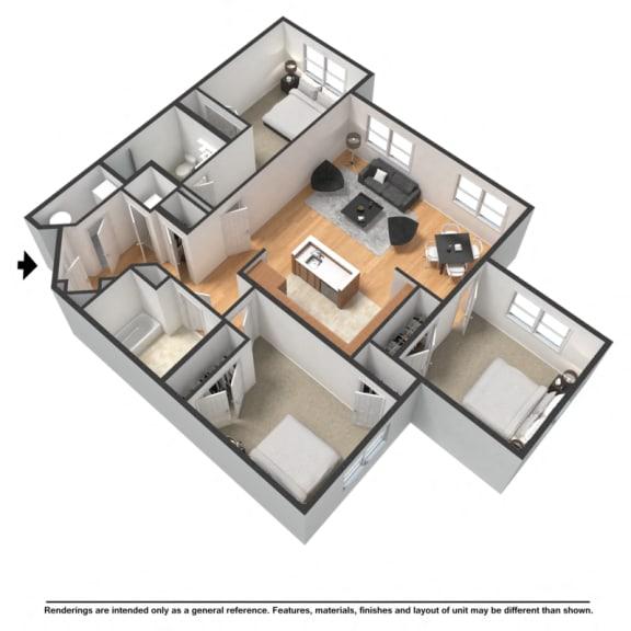 Floor Plan  Three bedroom, two bathroom