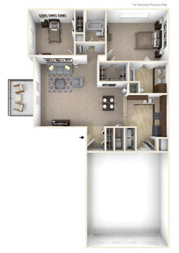 Geranium - No Basement Floor Plan 2 BR 2 BA at Killian Lakes Apartments and Townhomes, Columbia, SC