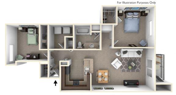 2-Bed/1-Bath, Mayflower Floor Plan at Killian Lakes Apartments and Townhomes, South Carolina