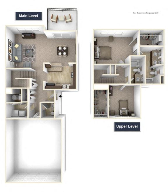 Trillium - No Basement Floor Plan 2 BR 2.5 BA at Killian Lakes Apartments and Townhomes, Columbia, South Carolina 29203