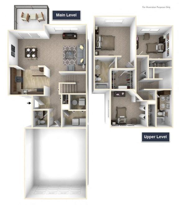 Yarrow - No Basement Floor Plan 3 BR 2.5 BA at Killian Lakes Apartments and Townhomes, Columbia, SC