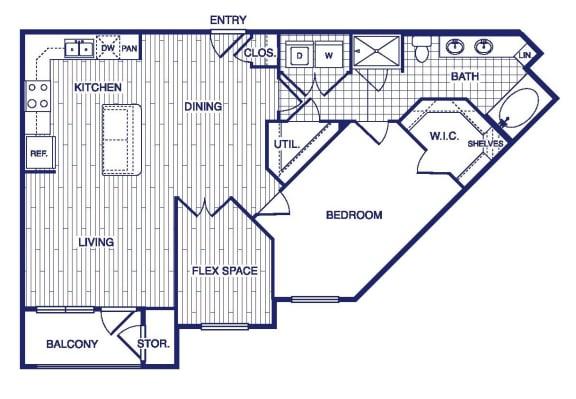 Floor Plan  A14 Floor Plan at Vargos on the Lake, Houston, 77063