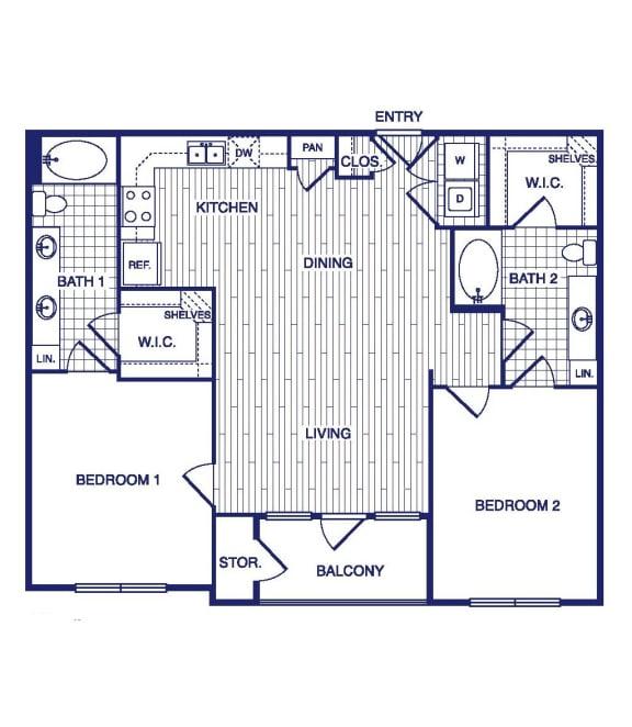 Floor Plan  D1 Floor Plan at Vargos on the Lake, Houston, Texas