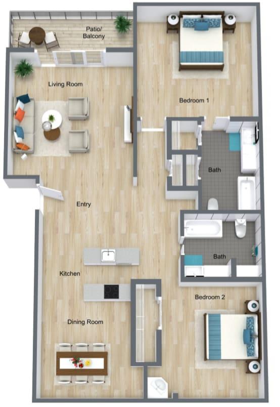 Floor Plan  2 Bed   2 Bath A