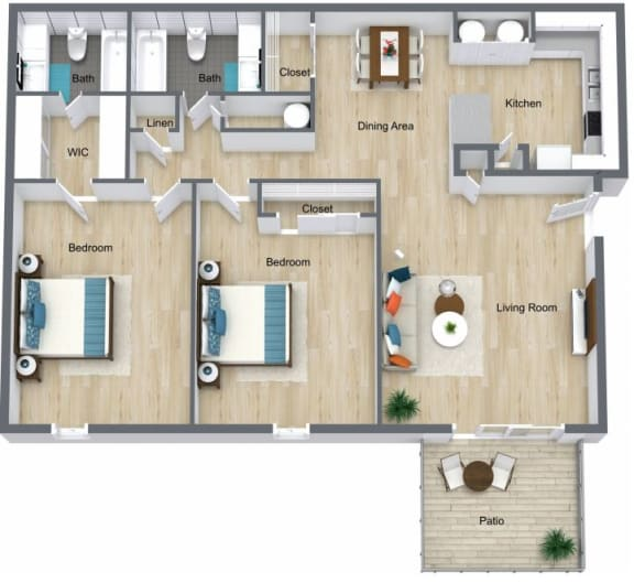 Floor Plan  2 Bed | 2 Bath