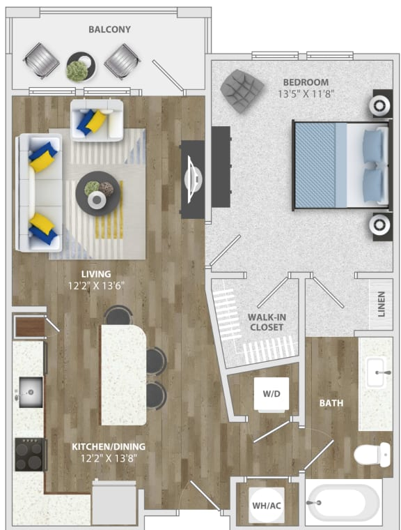 1 Bedroom (a1) Floor Plan at Monterosso Apartments, Kissimmee, FL
