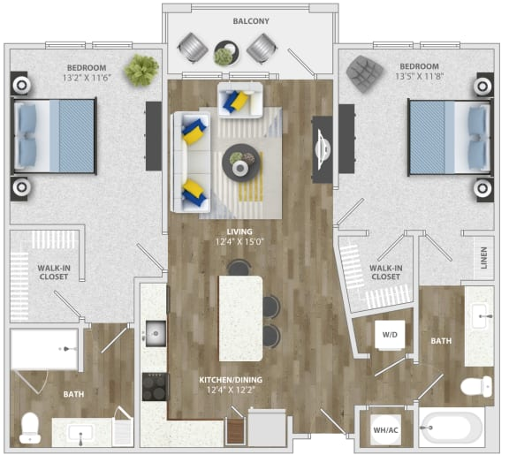 2 Bedroom (b2) Floor Plan at Monterosso Apartments, Florida, 34741