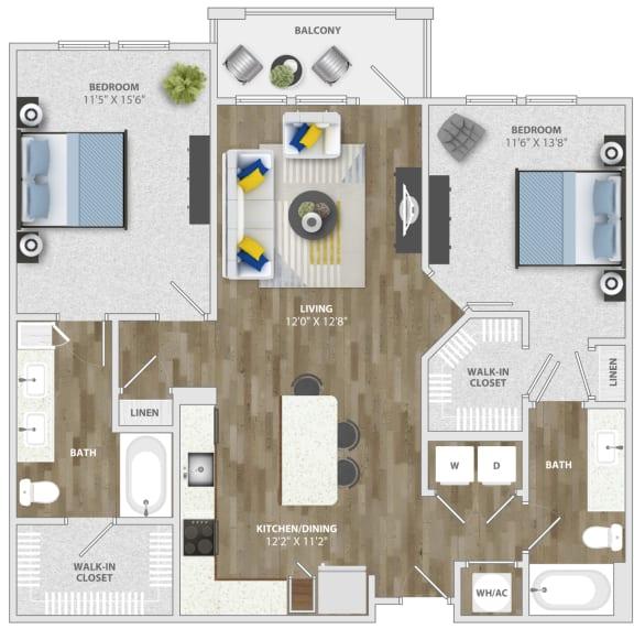 Floor Plan  2 Bedroom (b4) Floor Plan at Monterosso Apartments, Kissimmee, FL