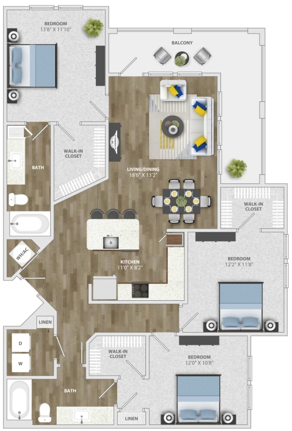 3 Bedroom (c2) Floor Plan at Monterosso Apartments, Kissimmee, Florida