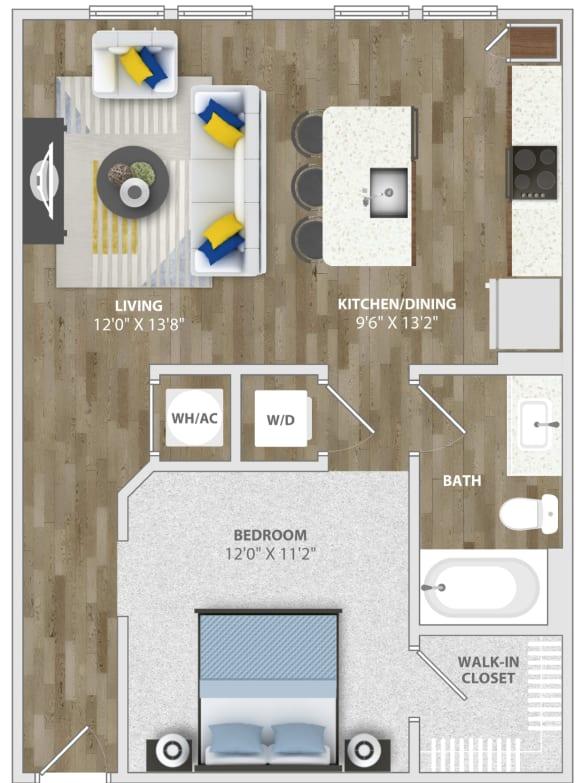 Studio (s1) Floor Plan at Monterosso Apartments, Kissimmee, FL, 34741