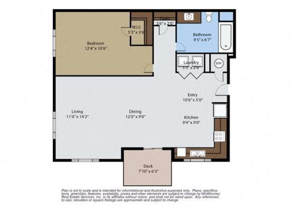Floor Plan  Juniper 1 Bedroom 1 Bath Floor Plan at Pinyon Pointe, Loveland, CO