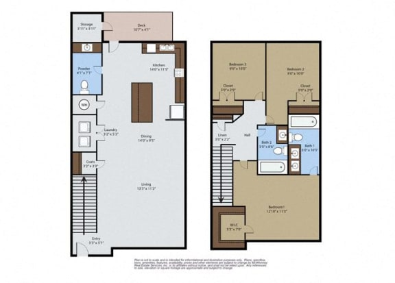 Floor Plan  Maple 3 Bedroom 2.5 Bath Floor Plan at Pinyon Pointe, Loveland