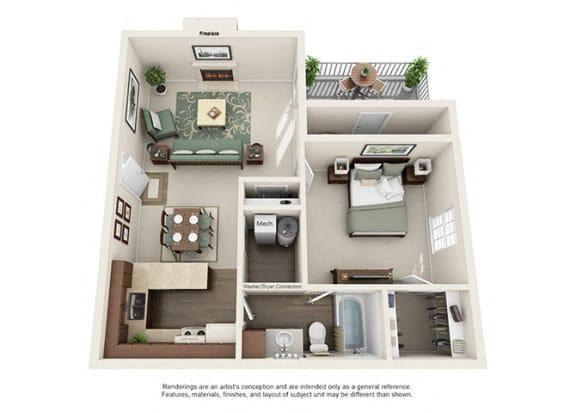 Floor Plan  Pinehurst Apartment Homes - 1 Bedroom 1 Bath Apartment