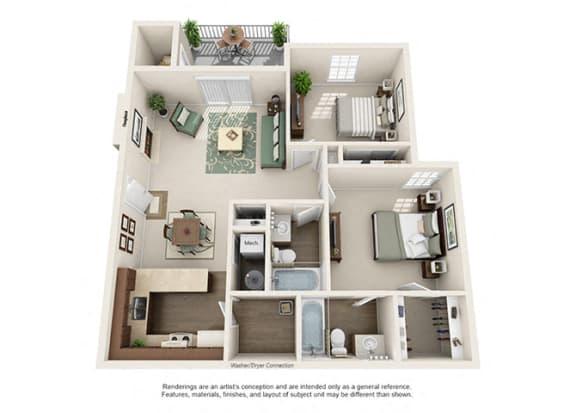 Floor Plan  Pinehurst Apartment Homes - 2 Bedroom 2 Bath Apartment