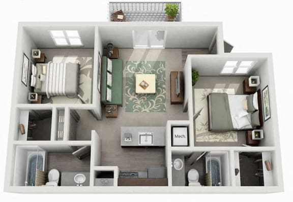 Floor Plan  Tech Center Square Apartment Homes - 2 Bedroom 2 Bath Apartment