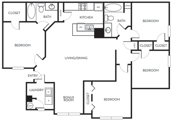 Four Bedroom Two Bath Floorplan The Terraces at Lake Mary Florida