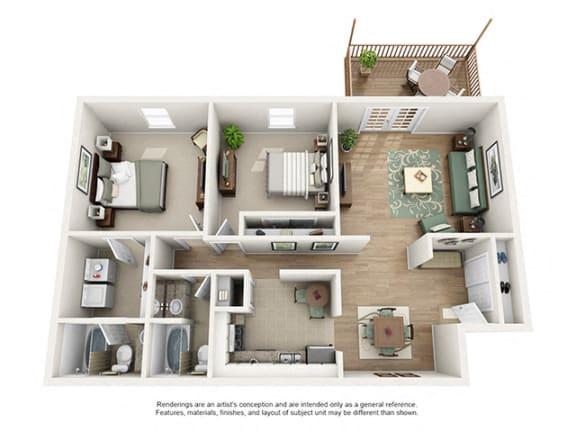 Floor Plan  The Brookwood Apartment Homes - 2 Bedroom 2 Bath Apartment