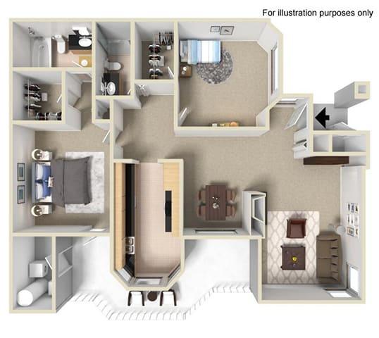 Floor Plan  The Bryant at Yorba Linda Apartment Homes - 2 Bedroom 2 Bath Apartment