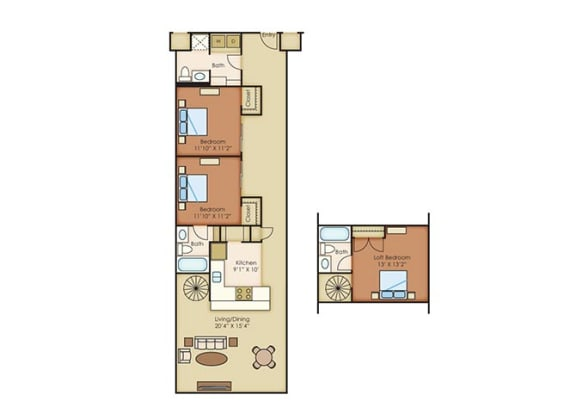The Cannery Lofts Apartment Homes 3 Bedroom 3 Bath