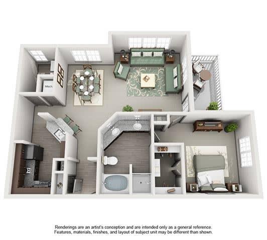 The Estates at Johns Creek Apartment Homes - 1 Bedroom 1 Bath Apartment