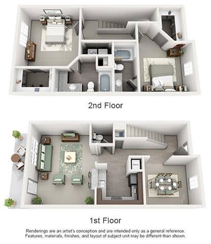 The Estates at Johns Creek Apartment Homes - 2 Bedroom 2.5 Bath Apartment