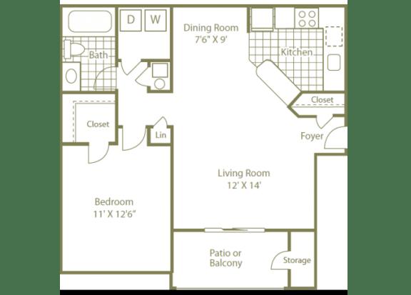 Uptown Buckhead Apartment Homes 1 Bedroom | 1 Bath | 750 Sq. Ft.