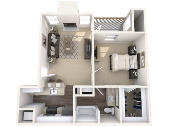 Floor Plan  Wimbledon Oaks|Aspen - 1Bed 1Bath