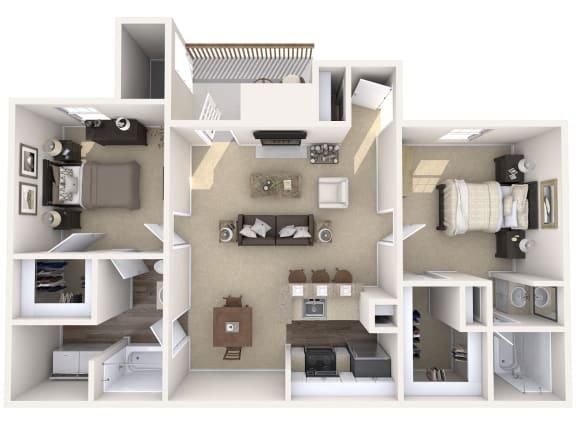 Floor Plan  Wimbledon Oaks Maple - 2Bed 2Bath