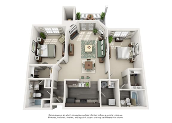 Floor Plan  1000 Spalding Apartment Homes - 2 Bedroom 2 Bath Apartment
