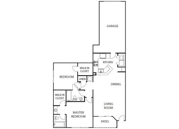 Floor Plan  Ginger 2 bedroom 2 bath bay club apartment homes jacksonville florida