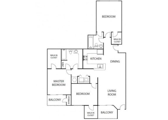 Floor Plan  Heather 3 bedroom 2 bath bay club apartment homes jacksonville florida