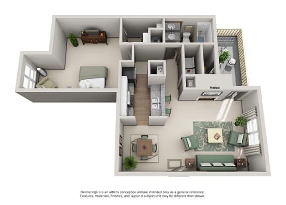 Floor Plan  Crosstown at Chapel Hill Apartment Homes - 1 Bedroom 1 Bath Apartment