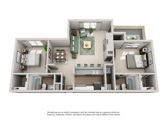 Crosstown at Chapel Hill Apartment Homes - 2 Bedroom 2 Bath Apartment